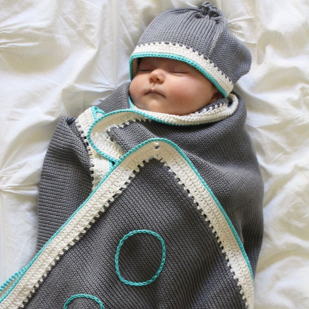 Signature Set: Stone Turquoise - Haiti Babi - Artisan Knit Baby Products, Handmade By Moms In Haiti.