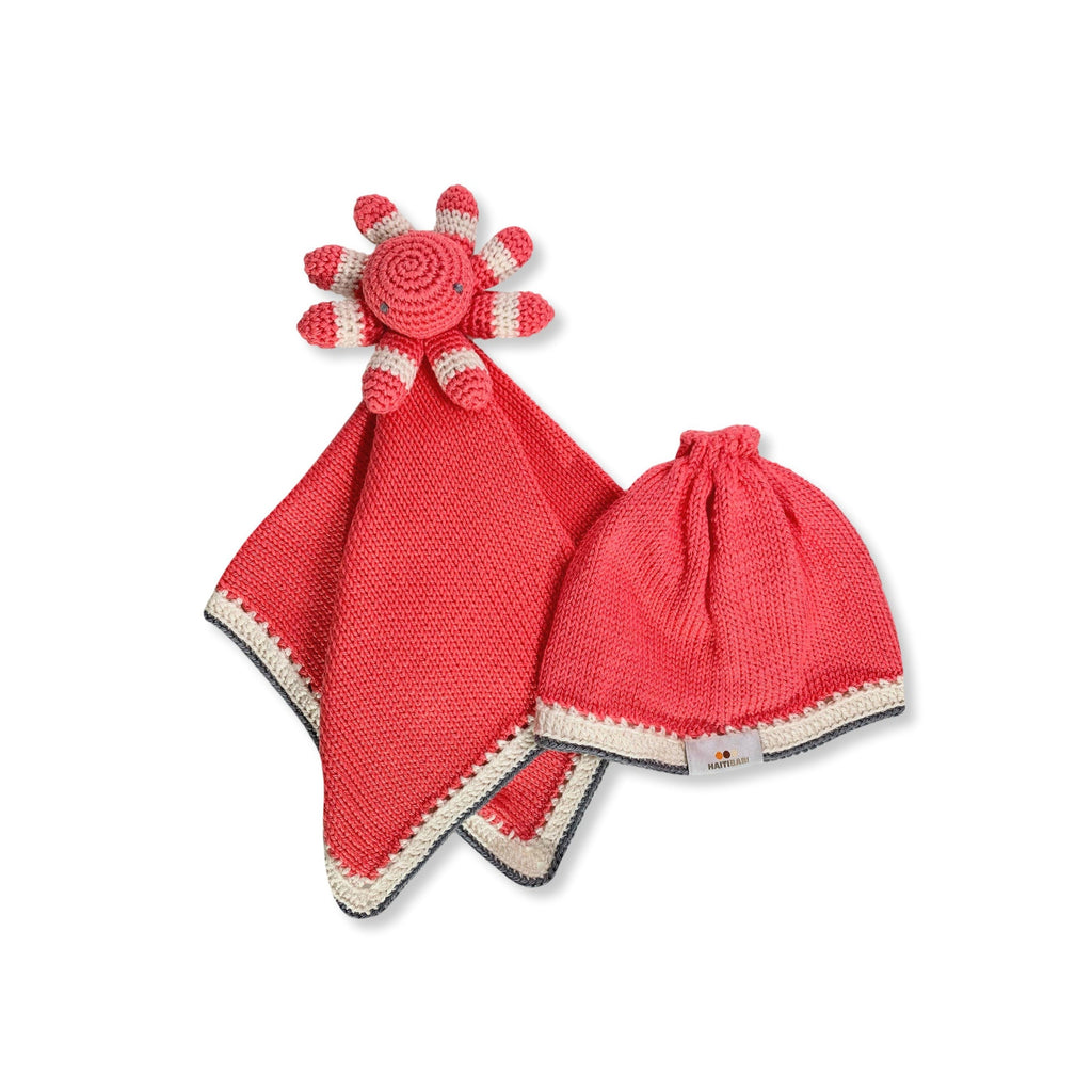 Caribbean Lovie Hat Set: Guava & Stone - Haiti Babi - Artisan Baby Products, Handmade By Moms In Haiti.