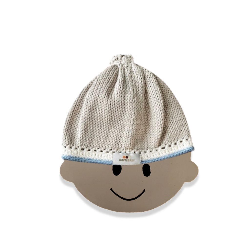 Signature Hat: Pebble Baby Blue - Haiti Babi - Artisan Baby Products, Handmade By Moms In Haiti.