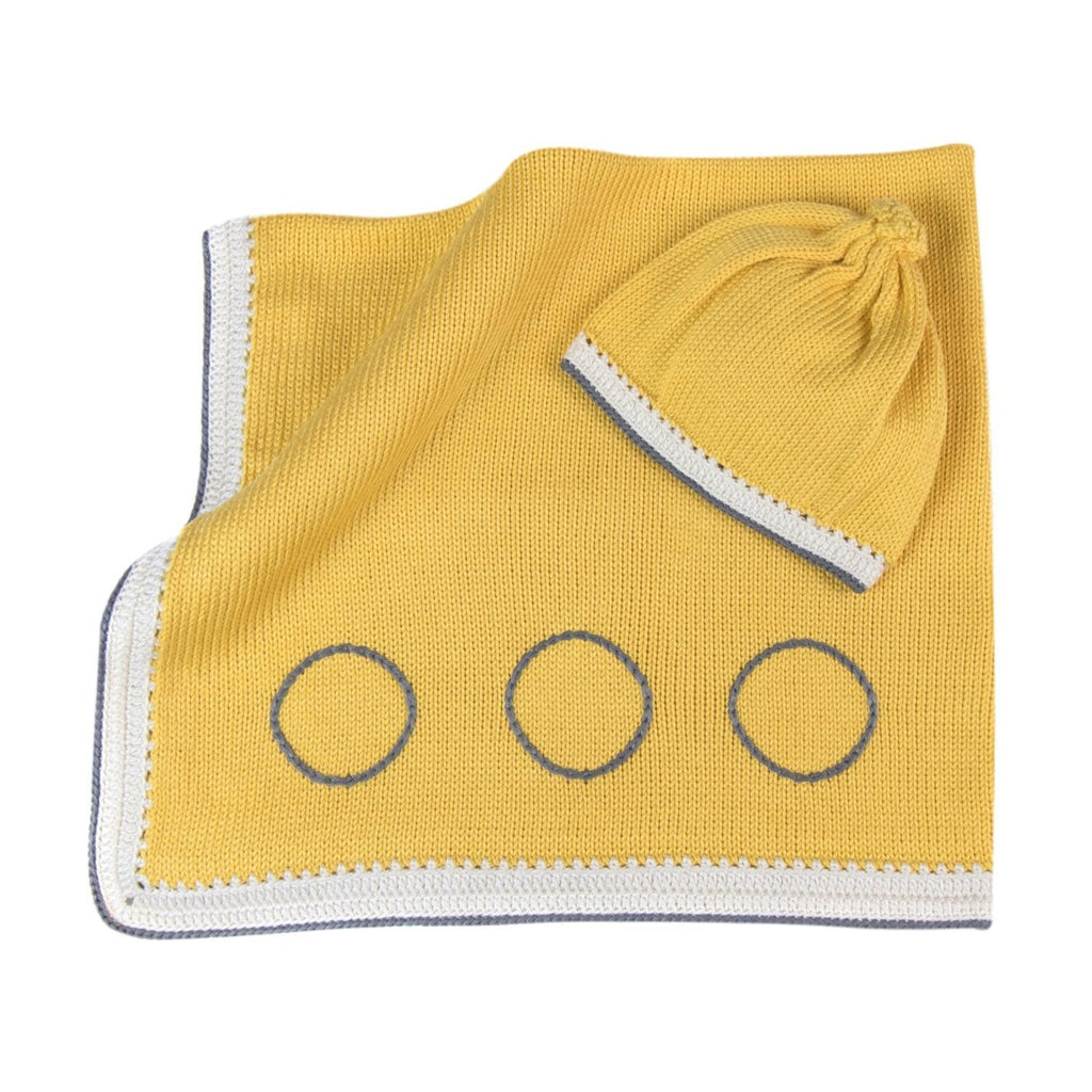 Caribbean Baby Blanket & Hat Set: Pineapple Yellow Stone - Haiti Babi - Artisan Baby Products, Handmade By Moms In Haiti.