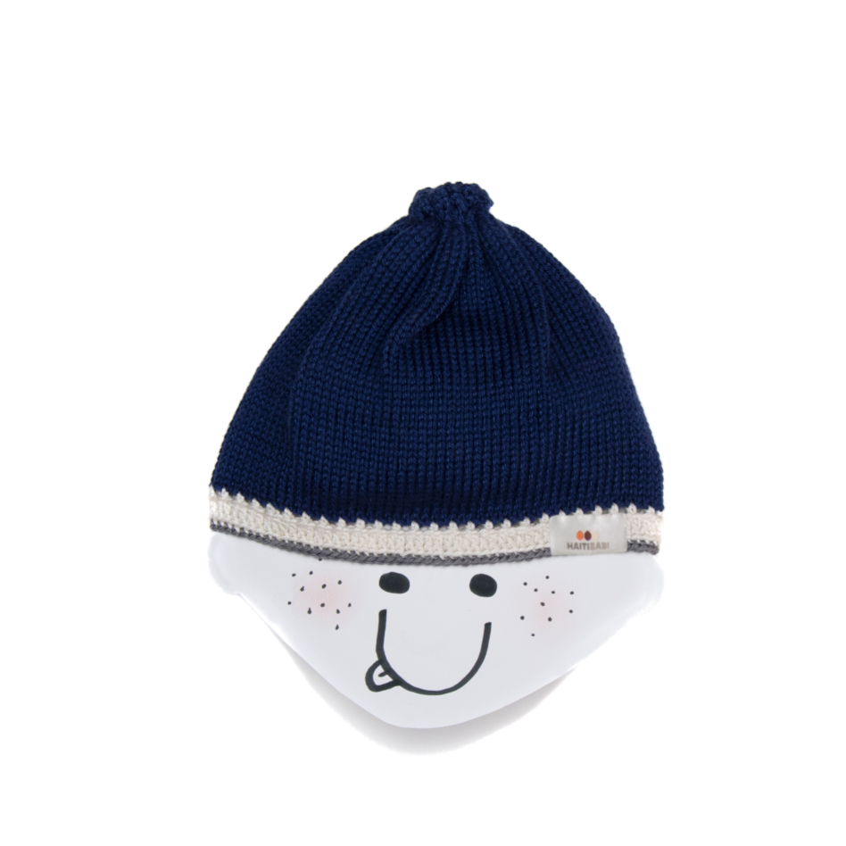 Naval Blue Baby Hat : Armada Blue Stone - Haiti Babi - Artisan Baby Products, Handmade By Moms In Haiti.