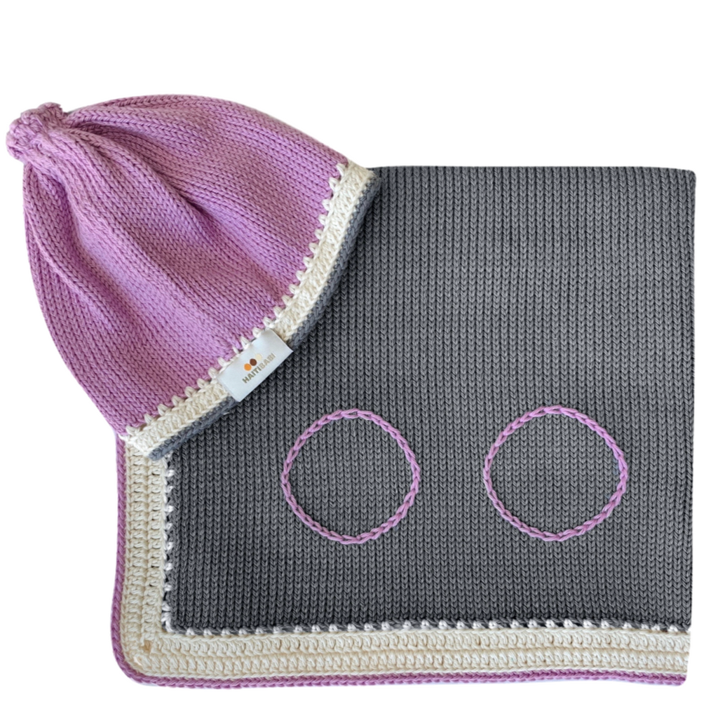 Caribbean Set:  Stone & Orchid - Haiti Babi - Artisan Knit Baby Products, Handmade By Moms In Haiti.