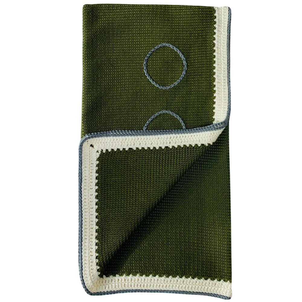 Baby Blanket: Moss Green Stone - Haiti Babi - Artisan Baby Products, Handmade By Moms In Haiti.