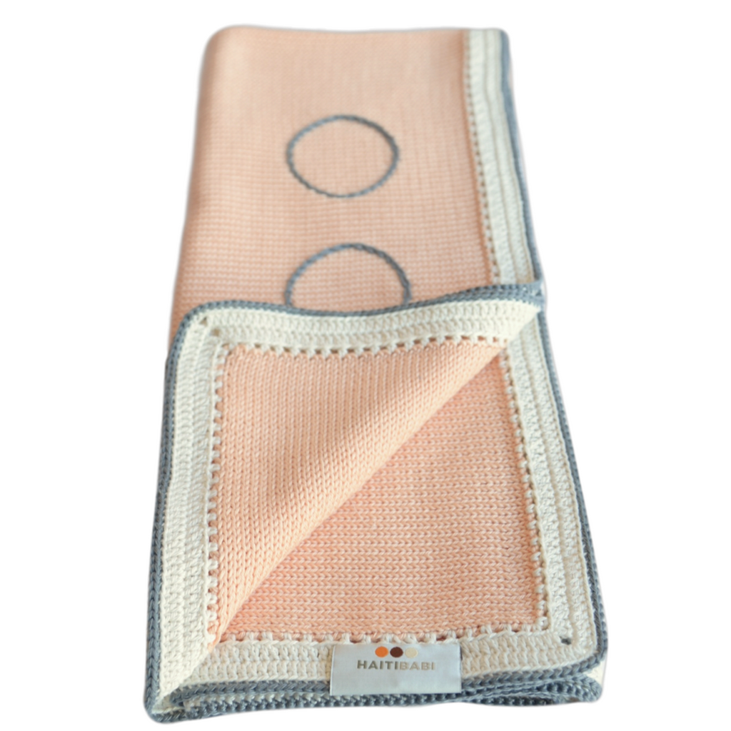 Signature Baby Blanket: White Peach Stone - Haiti Babi - Artisan Baby Products, Handmade By Moms In Haiti.