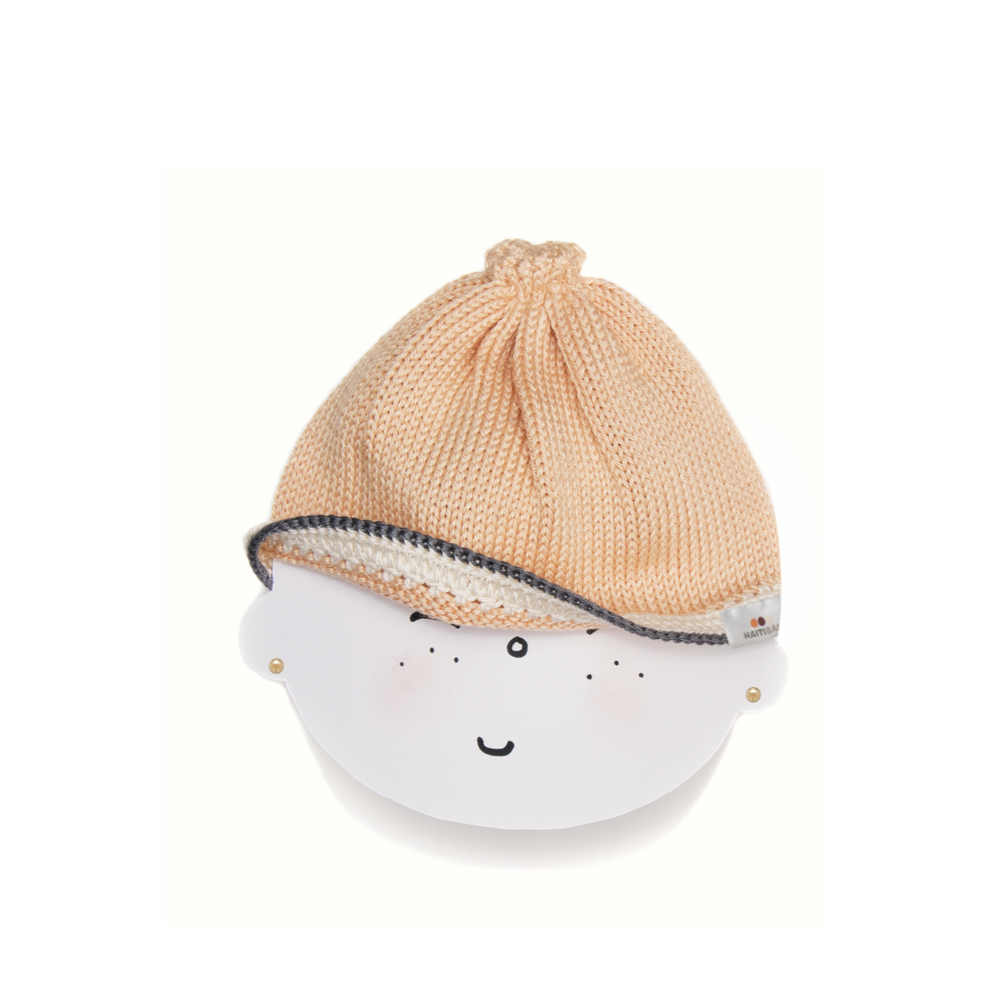 Signature Baby Hat: White Peach Stone - Haiti Babi - Artisan Baby Products, Handmade By Moms In Haiti.