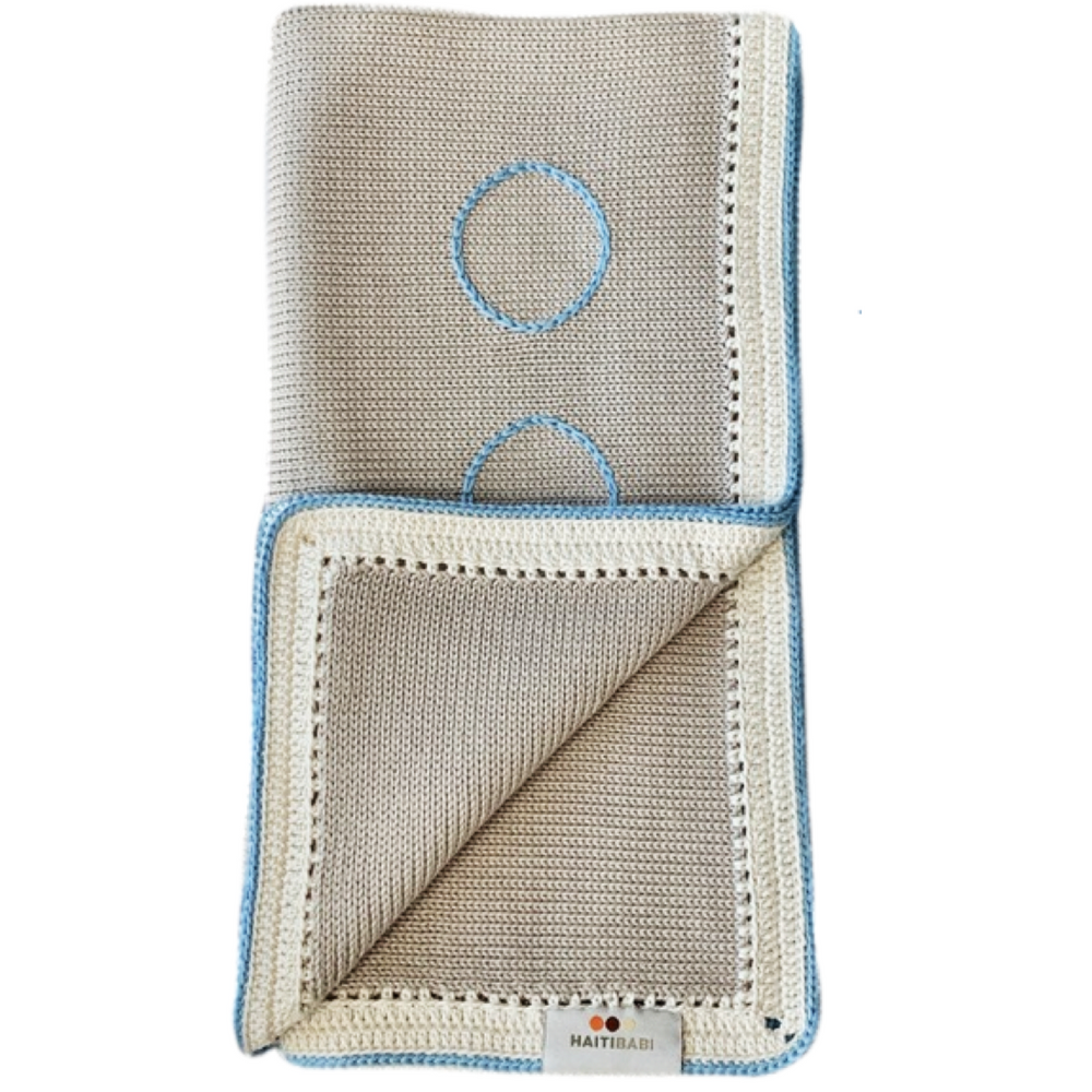 Tranquility Baby Blanket: Baby Blue Stone - Haiti Babi - Artisan Baby Products, Handmade By Moms In Haiti.