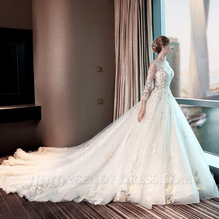 Cathedral Train Long Sleeve wedding dress A-Line wedding Gown JJW ...