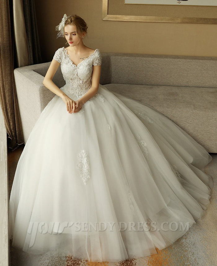 Ivory Short Sleeve wedding dress,V-Neck A-Line wedding gown JJW 3302 ...