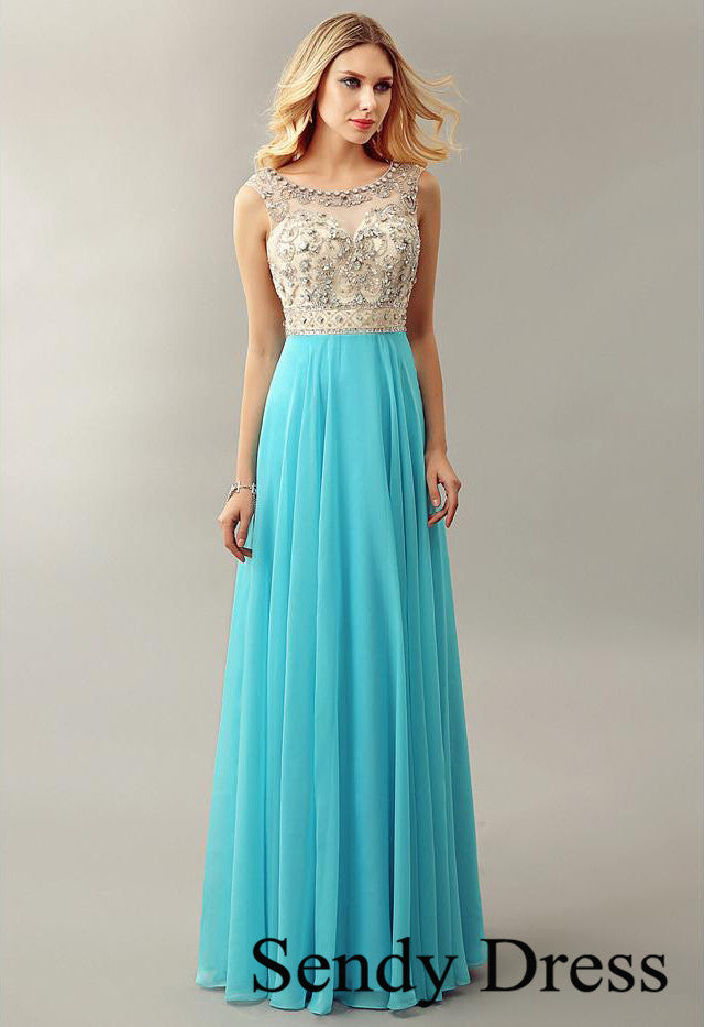 Round neck luxurious crystal A-line light blue formal dress prom ...