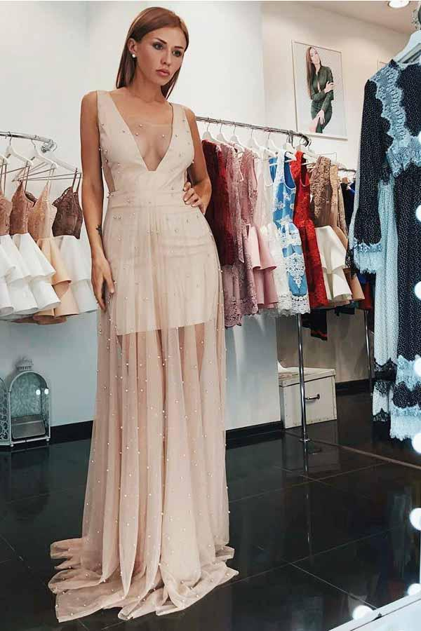 A-Line V-Neck Low Cut Pearl Pink Tulle Prom Dress with Pearls ...