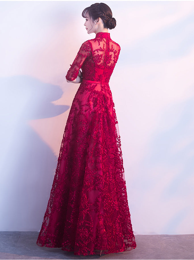 Long Red Lace Prom Dresseslong Sleeve Evening Dresses Jjp 3057