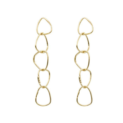 Allora by Laura Ali Grace Tiny Five Gold Drop Earrings