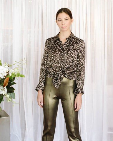 Robert Friedman Leopard Silk Blouse