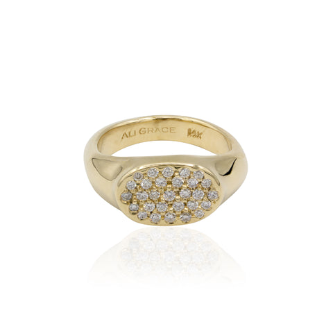 Allora by Laura Ali Grace Petite Gold Signet Ring w/ Pavé Diamonds