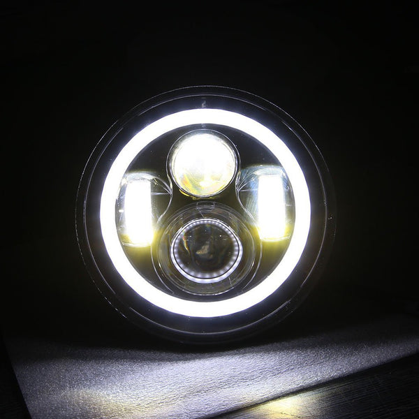 "7"" LED Headlight For Harley Davidson Motorcycle Projector LED Light Bulb For Jeep Wrangler JK LJ CJ Headlamp Black"