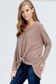 Lightweight Thermal Knit Button Down Top - Nickel and Birch