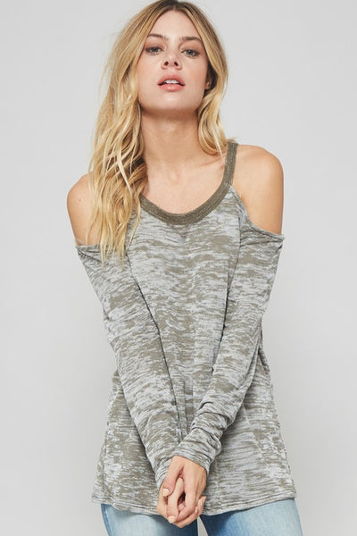 Cold Shoulder Cut Out Long Sleeve Shirt - Nickel and Birch