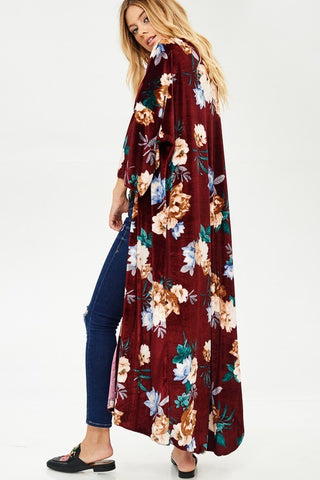 Velvet Duster with Floral Pattern