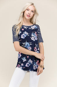 Floral Baseball Tee with Striped Sleeves - Nickel and Birch