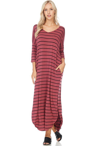 Striped 3/4 Sleeve Maxi Dress - Nickel and Birch