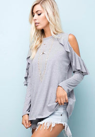 Cut Out Shoulder Ruffle Sleeve Top - Nickel and Birch