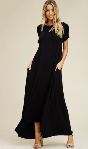 Short Sleeve Uneven Maxi Dress with Pockets - Nickel and Birch