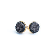 Round Druzy Cluster Earrings - Nickel and Birch