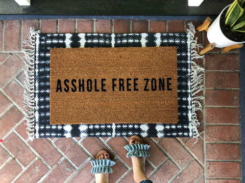 Asshole Free Zone Rude Doormat - Nickel and Birch