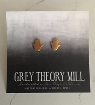 Brass Hamsa Studs - Nickel and Birch