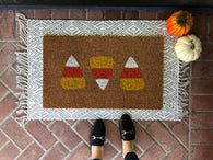 Candy Corn Halloween Doormat - Nickel and Birch