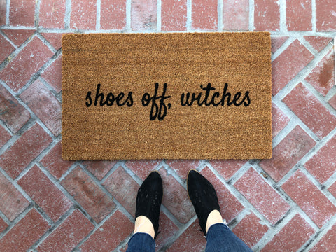 shoes off witches funny halloween doormatshoes off witches funny halloween doormat nickel and birch