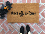 shoes off witches Funny Halloween Doormat - Nickel and Birch