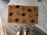 Football Pattern Halloween Doormat - Nickel and Birch