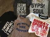 Drink Beer and Watch Football Off Shoulder Tee - Nickel and Birch
