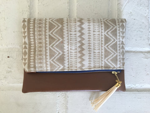 Cream Ikat Tribal Tassel Clutch - Nickel and Birch