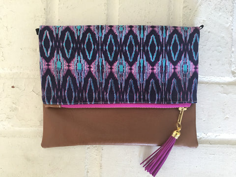 Ikat Pattern Boho Tassel Clutch - Nickel and Birch