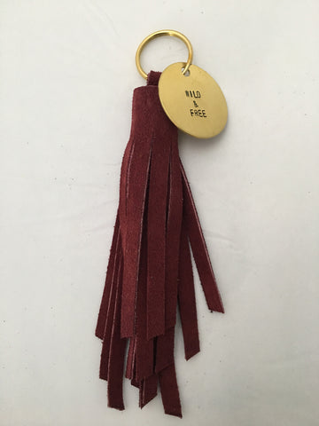 Handmade LONG Leather Fringe Tassel Keychain - Nickel and Birch