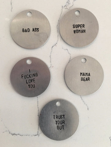 Handstamped Tags - Nickel and Birch