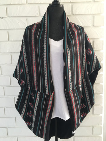 Tribal Pattern Reversible Kimono - Nickel and Birch
