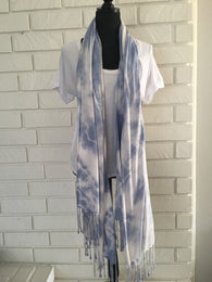 Hand Dyed Shibori Scarf - Nickel and Birch