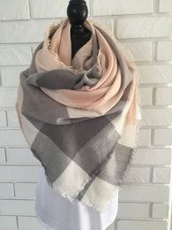Gray + Pink Blanket Scarf - Nickel and Birch