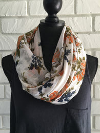 White Flower Scarf - Nickel and Birch