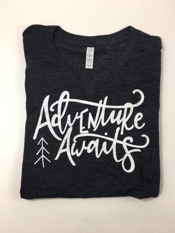 Adventure Awaits V-Neck Tee - Nickel and Birch