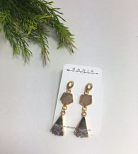 Druzy + Triangle Slice Amethyst Earrings - Nickel and Birch