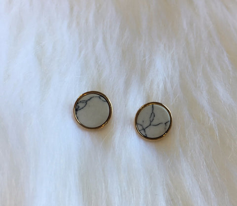 Marble and Gold Stud Earrings - Nickel and Birch
