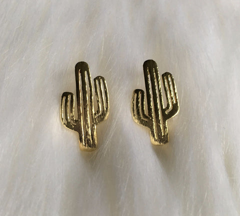 Gold Cactus Earrings - Nickel and Birch