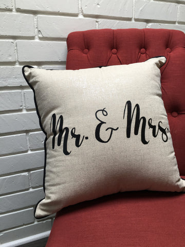 Mr & Mrs Handcrafted Pillow - Nickel and Birch