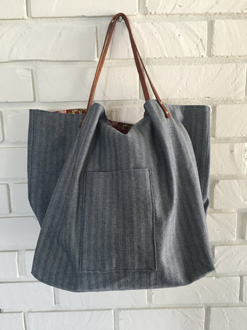 Over Sized Canvas Tote with Leather Handles - Nickel and Birch