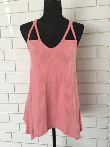 Ribbed Cut Out Tank Top