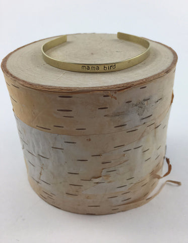 mama bird Thin Stamped Brass Cuff - Nickel and Birch